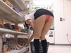 Japanese AV Model shows off her panties in the store