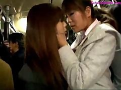 Schoolgirl Kissing With Girl Giving Blowjob..