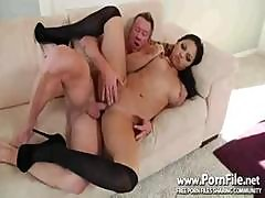 Busty Brunette Adrianna Luna Eats His Cock And Then Gets Nailed