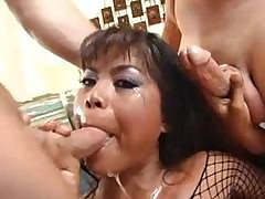 Nasty Asian Bitch Arcadia Gets Cum Covered By Dripping Cocks Then Drinks It From A Bowl