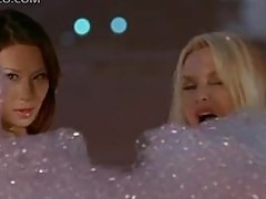 Lucy Liu and Nicolette Sheridan Playing In a Bathtub In Sexy Lingerie