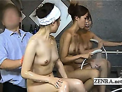 Outgoing Japanese spa girls tease and strip shy worker