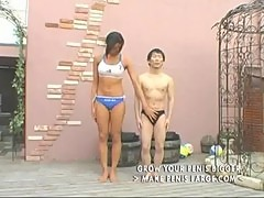 Tall amazon asian woman and little man part1
