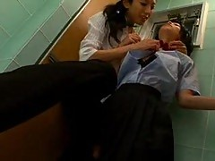 Asian Schoolgirls Passionately Pussy Fingering In A Toilet