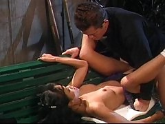 Sex on the cemetery with Asian pussy