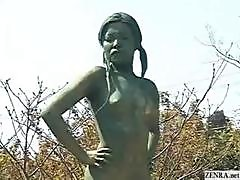 A Living Nude Female Japanese Garden Statue