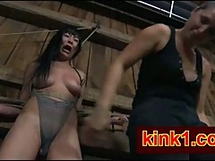 Asian bitch in bondage whipped