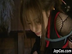 Tied up asian slave gets throat fucked hard