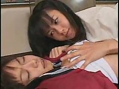 Japanese schoolgirls making out