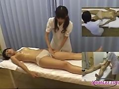 Asian Girl Massaged With Oil Getting Her Pussy Rubbed By The Masseuse On The Massage Bed