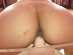 Lemon Momosaki sits all the way down on her dildo shoving it deep