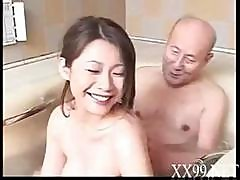 Old Man Gets A Young Asian Girls To Suck On His Dick In The Tub