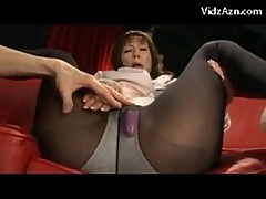 Mature lady with high heels and pantyhose getting her pussy