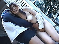 Japanese AV Model rubs her tits against a construction worker