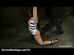 Blindfolded bound babe pussy vibed and flogged