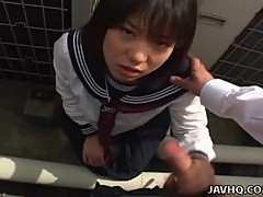 Japanese teen in a schoolgirl outdoor blowjob fun