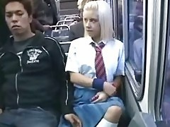 White Schoolgirl in Japan Bus!