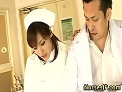 Sexy asian nurse in stockings