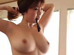 Gorgeous Asian Babe With Big Tits Getting Naked To Suck Her Lovers Cock